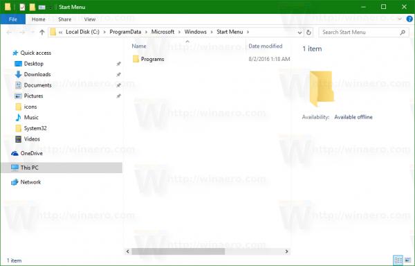 Windows 10 Start menu folder common