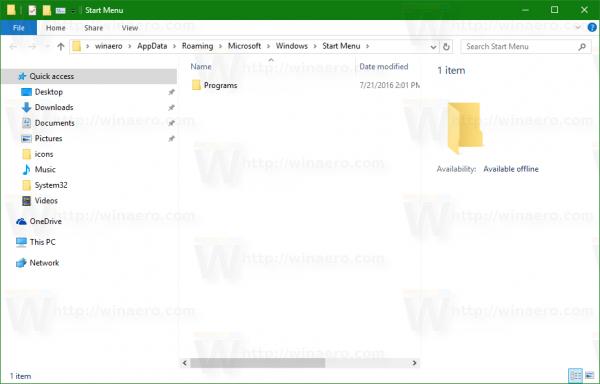Windows 10 Start menu folder per user