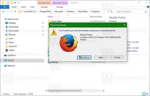 Windows 10 Start menu rename shortcut add space UAC