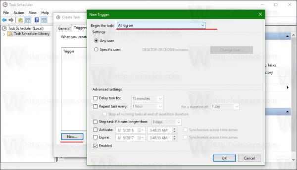 Windows 10 at logon trigger