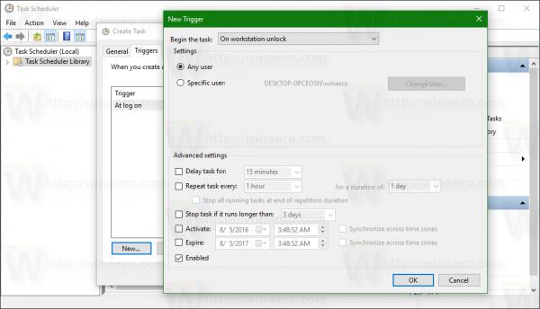 Windows 10 at unlock trigger