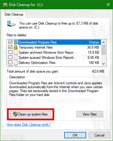 Windows 10 clean up system files
