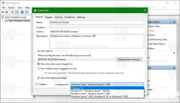 Windows 10 configure task for windows 10