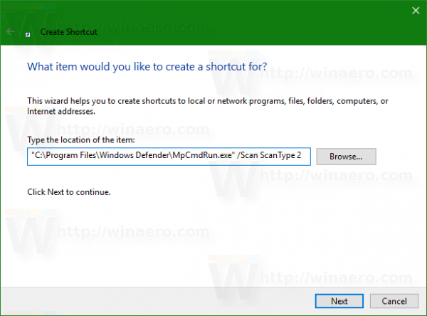 Windows 10 defender full scan shortcut