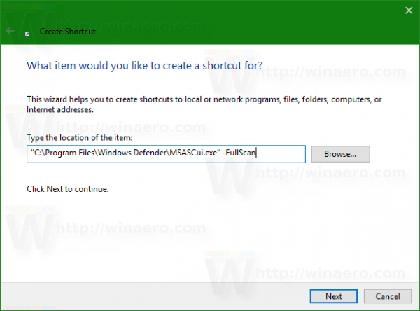 Windows 10 defender full scan shortcut gui