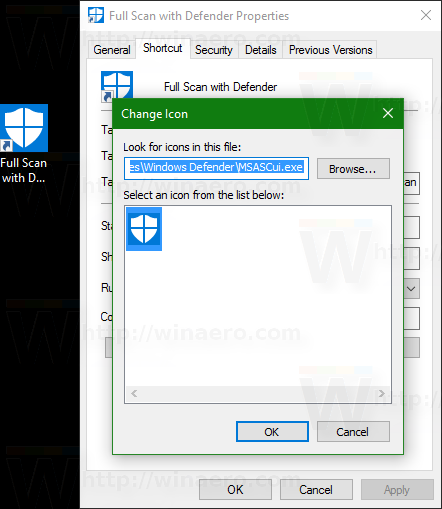 Windows 10 defender full scan shortcut icon