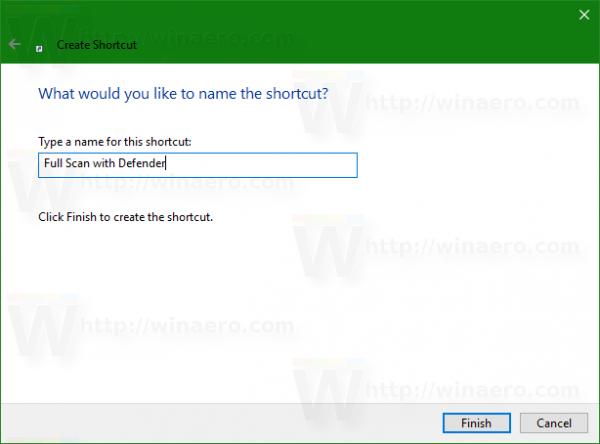 Windows 10 defender full scan shortcut name