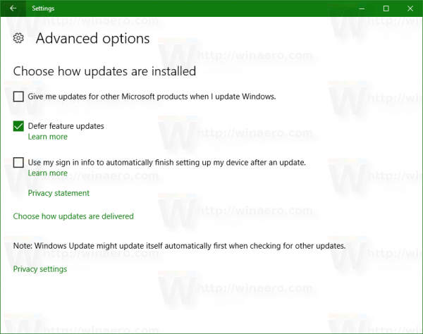 Windows 10 defer feature updates