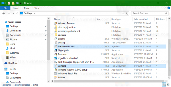 Windows 10 file symbolic link in explorer