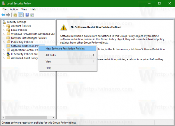 Windows 10 local security policy new software restriction