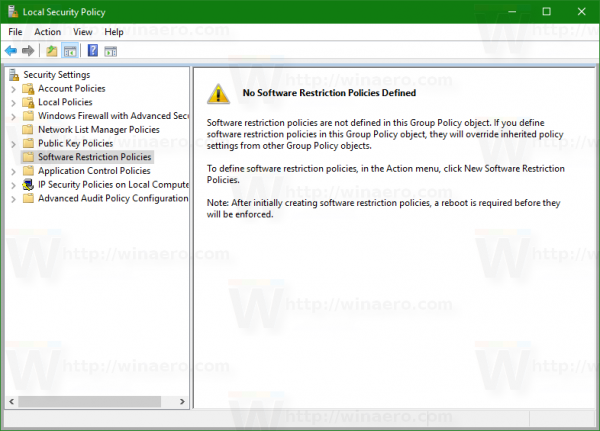 Windows 10 local security policy software restriction