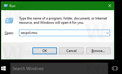 Windows 10 open local security policy