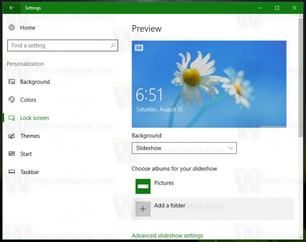 Windows 10 set slideshow 1