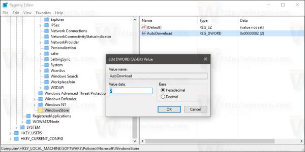 Windows 10 store disable app auto-update