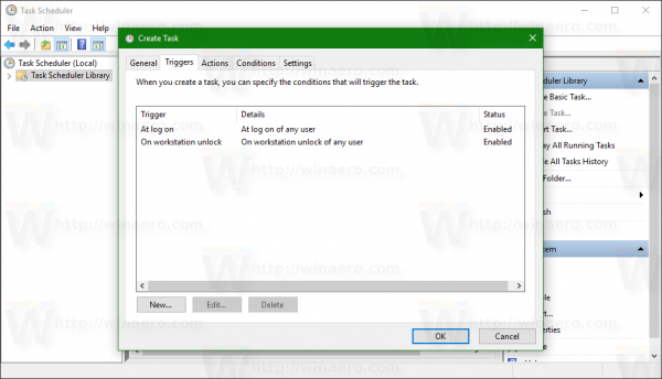 Windows 10 the list of triggers