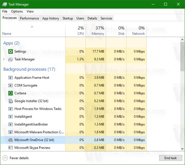 Windows 10 tm processes tab