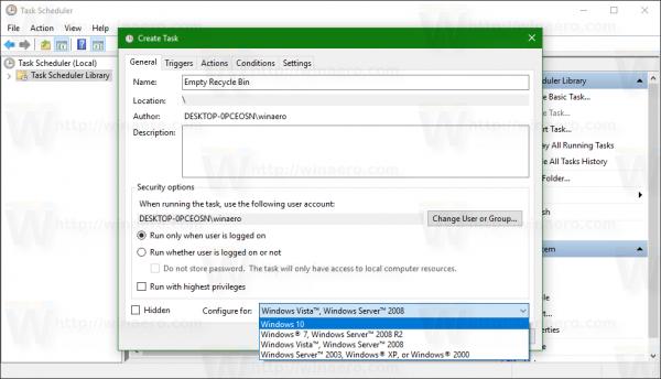 configure for windows 10