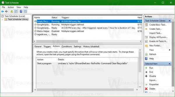 empty recycle bin task in Windows 10 - 2