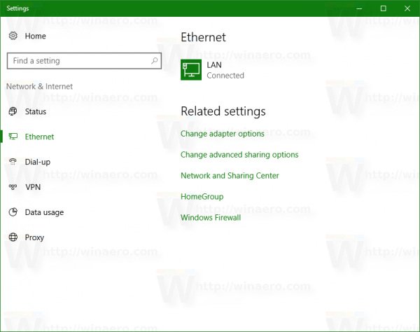 network and internet page in Settings