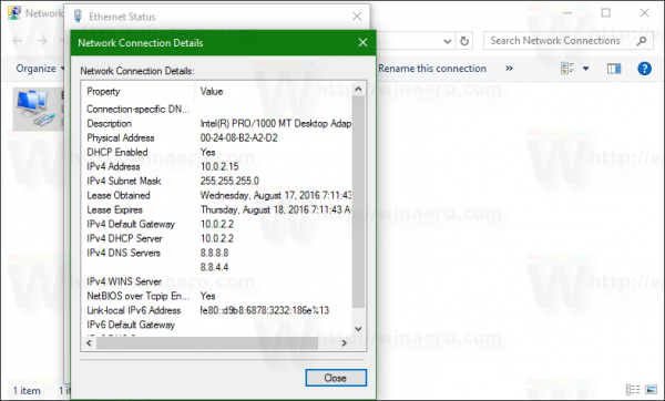 network connection address