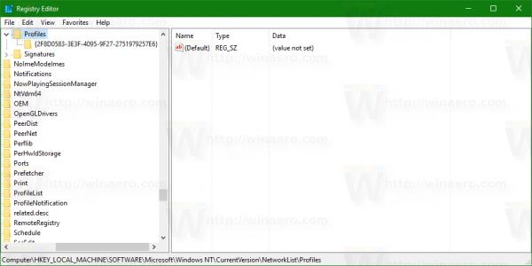 network profile list in Registry