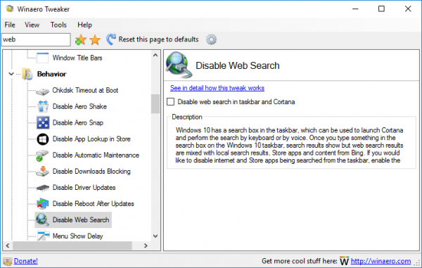 winaero tweaker disable web search