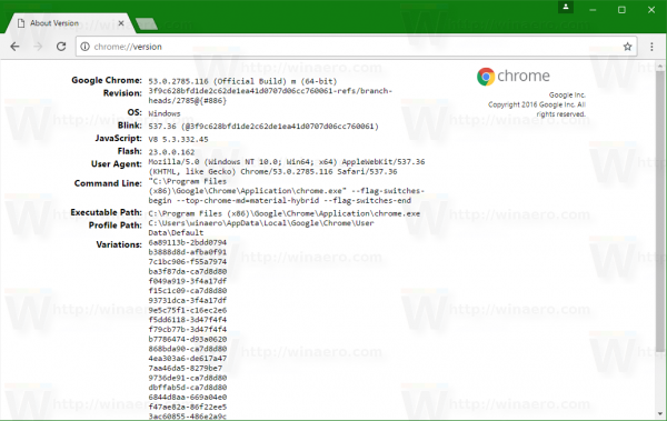 chrome-version-page