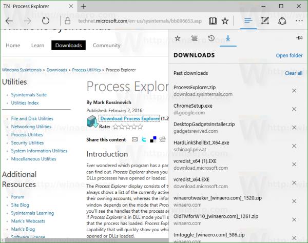 Download process explorer