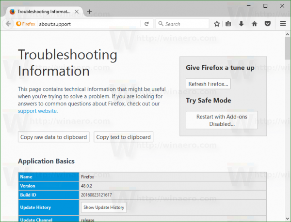 firefox-troubleshooting-page