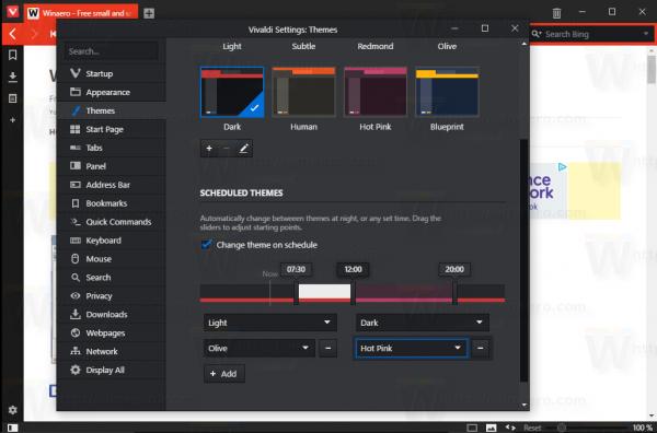 Vivaldi multiple themes schedule settings