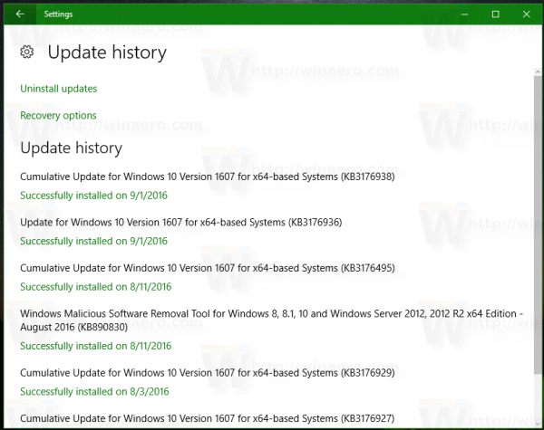 Windows 10 Update History Page in Redstone 1