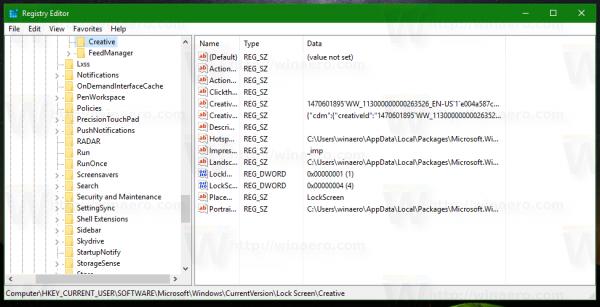 Windows 10 creative subkey opened