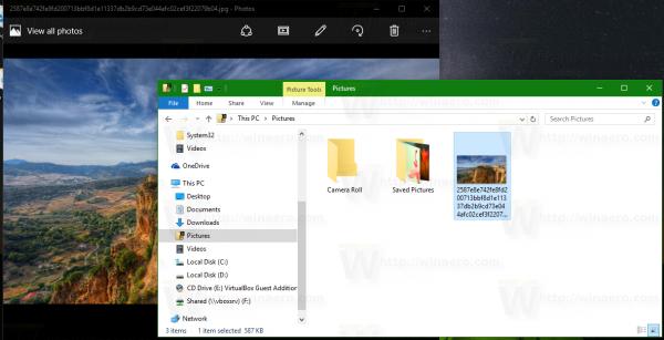 Windows 10 lock screen image opened