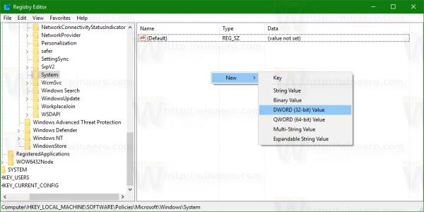 Windows 10 policies key new 32bit dword