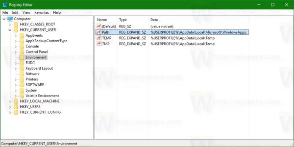 windows-10-registry-user-environment-variables