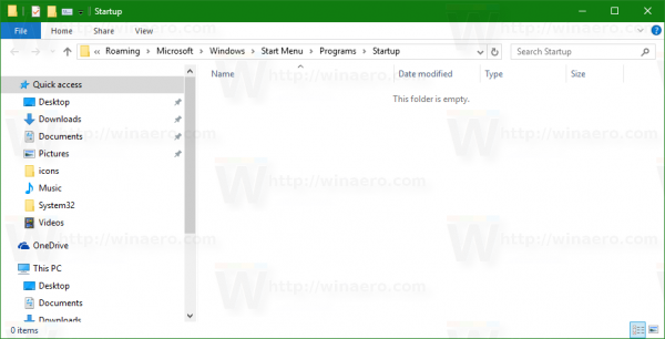 Windows 10 startup folder opened