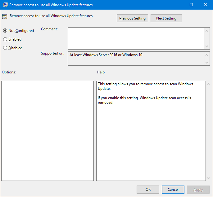 Remove access to all Windows Update features - a new policy