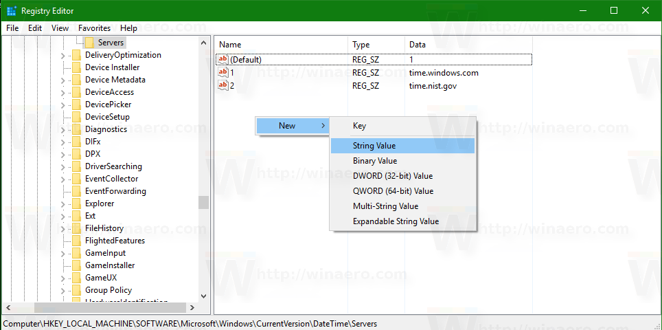 Configure Internet Time (NTP) options in Windows 10