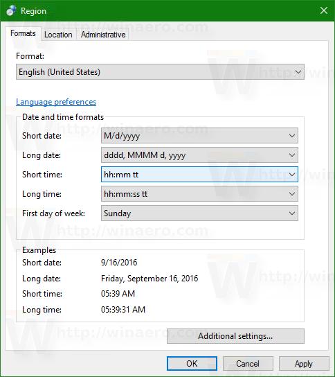 Change Windows 10 Lock screen time format