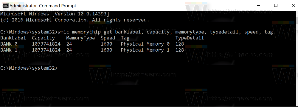 How to see DDR memory type in command prompt in Windows 10