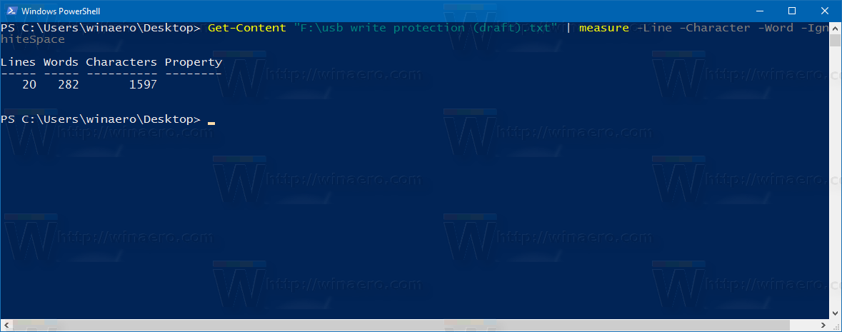 Get amount of words, chars and lines in a file using PowerShell
