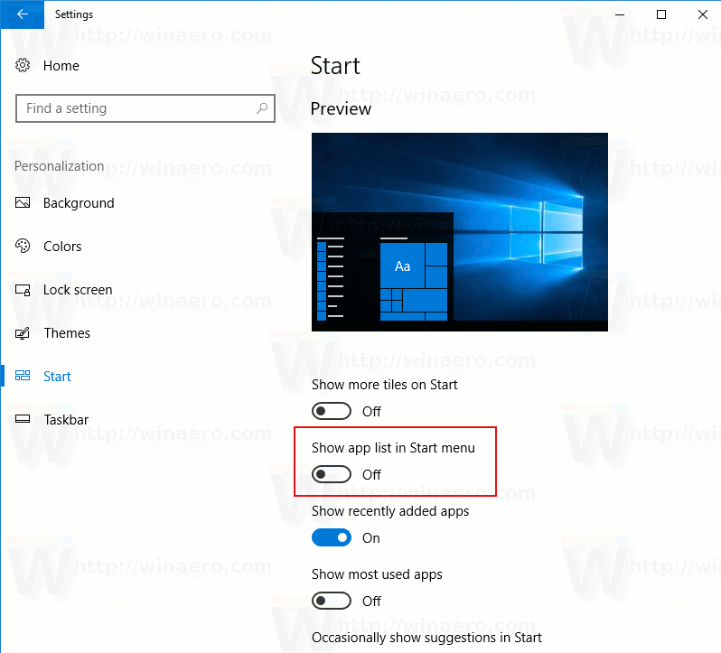 Windows 10 Disable All Apps Start Menu