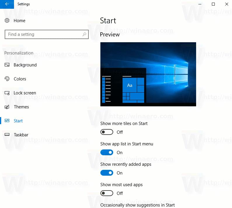 Windows 10 Settings Start