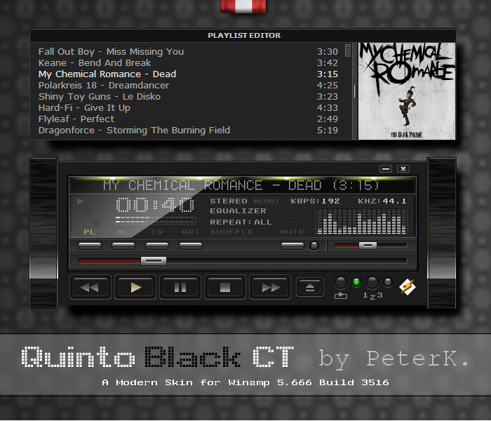 Quinto Black CT - a nice modern skin for Winamp