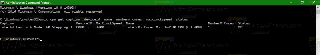 Get CPU Information via Command Prompt in Windows 10