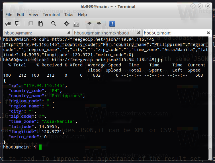 Get Geolocation info of IP Address in Bash in Linux