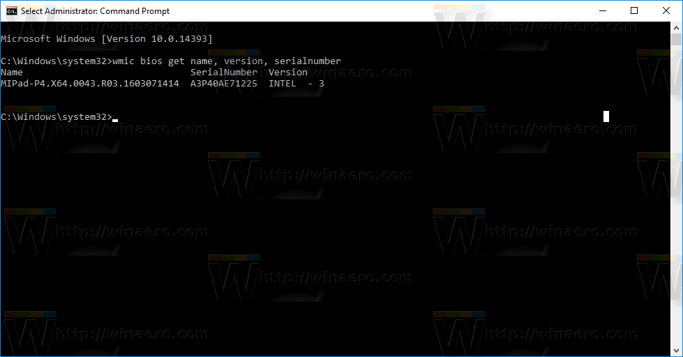 Get BIOS Information via Command Prompt in Windows 10