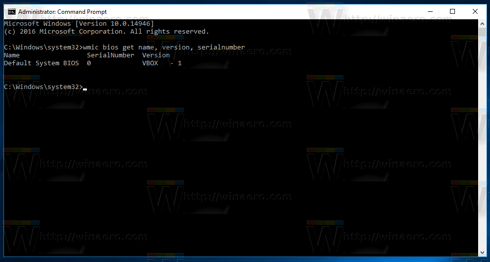 Get BIOS Information via Command Prompt in Windows 10