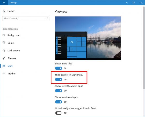 windows-10-build-14942-hide-app-list