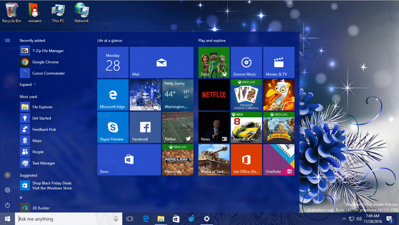 christmas theme 2016 for windows 10
